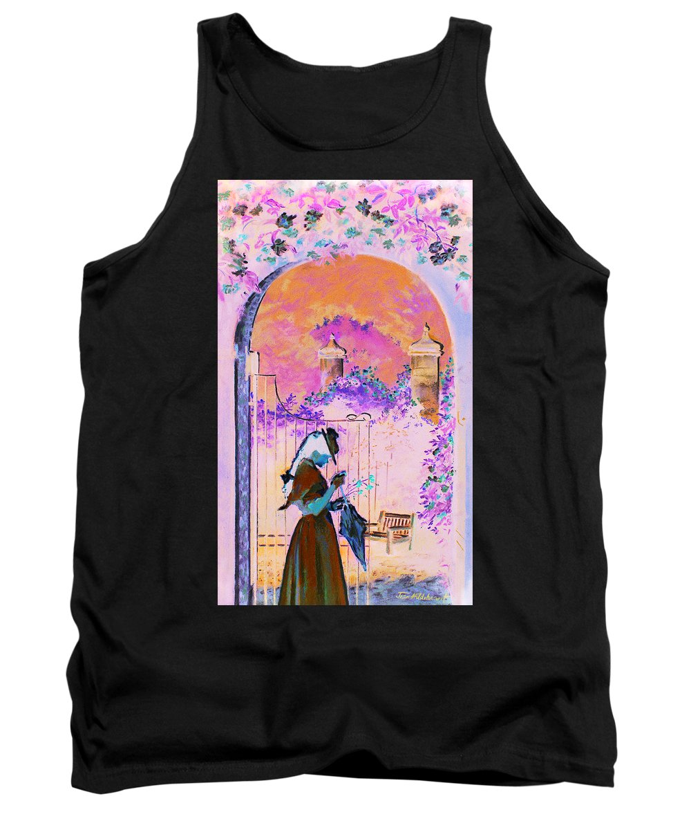 Rose Tank Top featuring the painting Afternoon Stroll by Jean Hildebrant