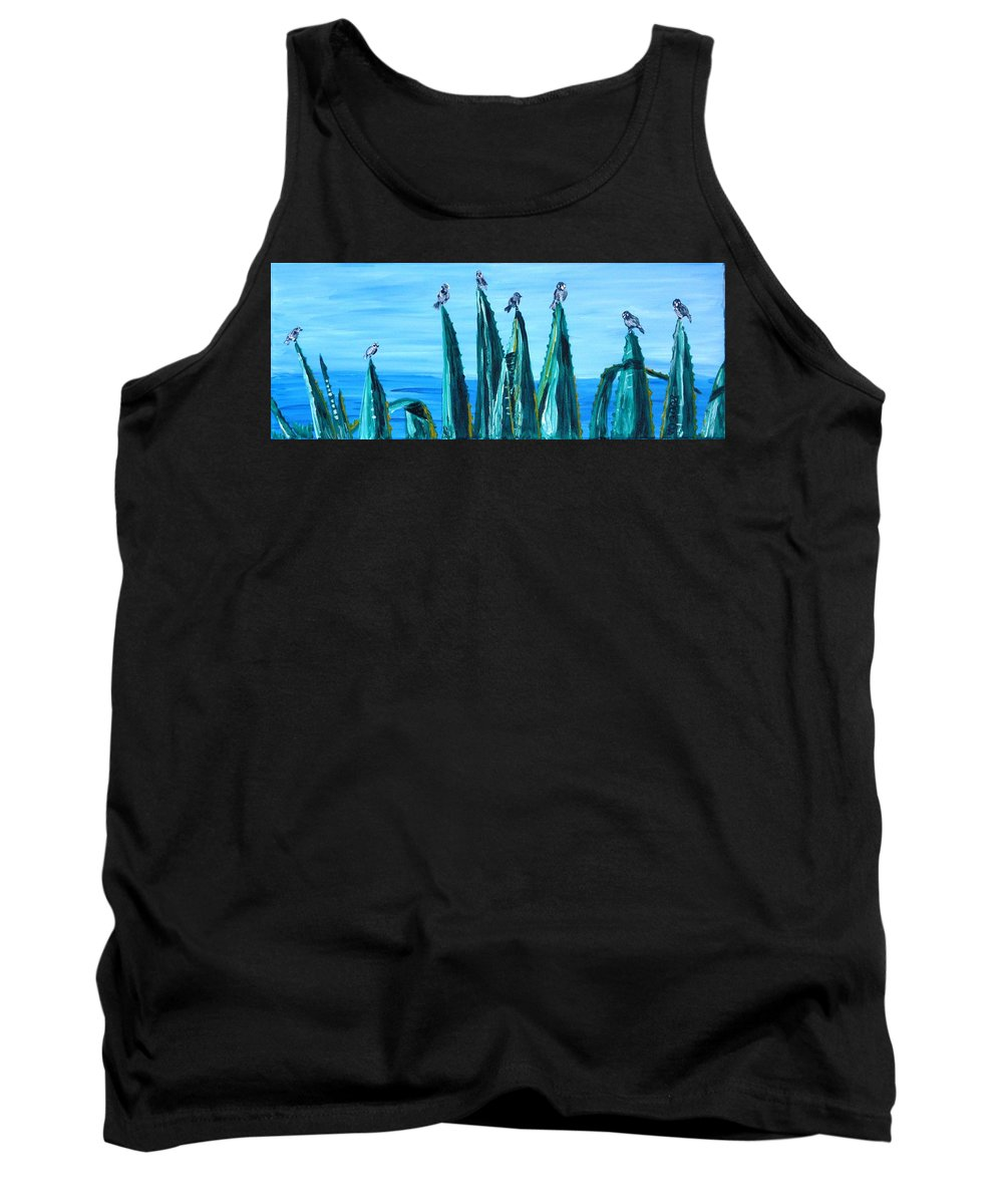 Landscape Tank Top featuring the painting Agave With Sparrows by Valerie Ornstein