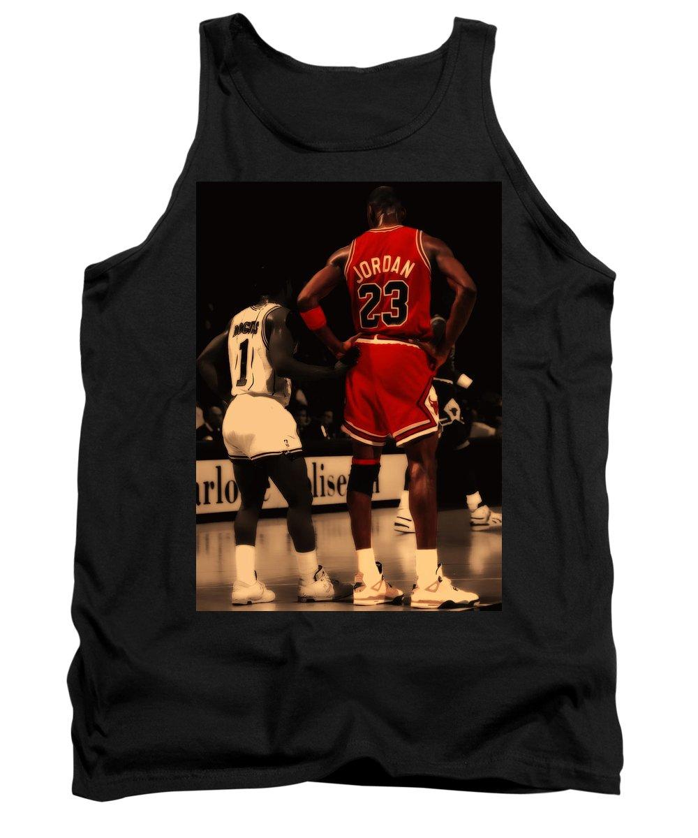 Michael Jordan Tank Top featuring the digital art Air Jordan And Muggsy  Bogues by Brian Reaves c090a6a14