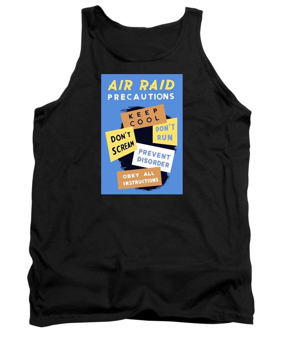 Wwii Tank Top featuring the mixed media Air Raid Precautions - Ww2 by War Is Hell Store