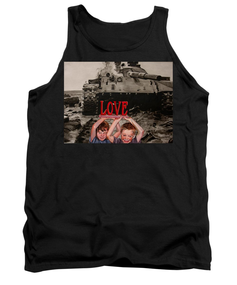 Political Tank Top featuring the painting All You Need Is... by Valerie Patterson
