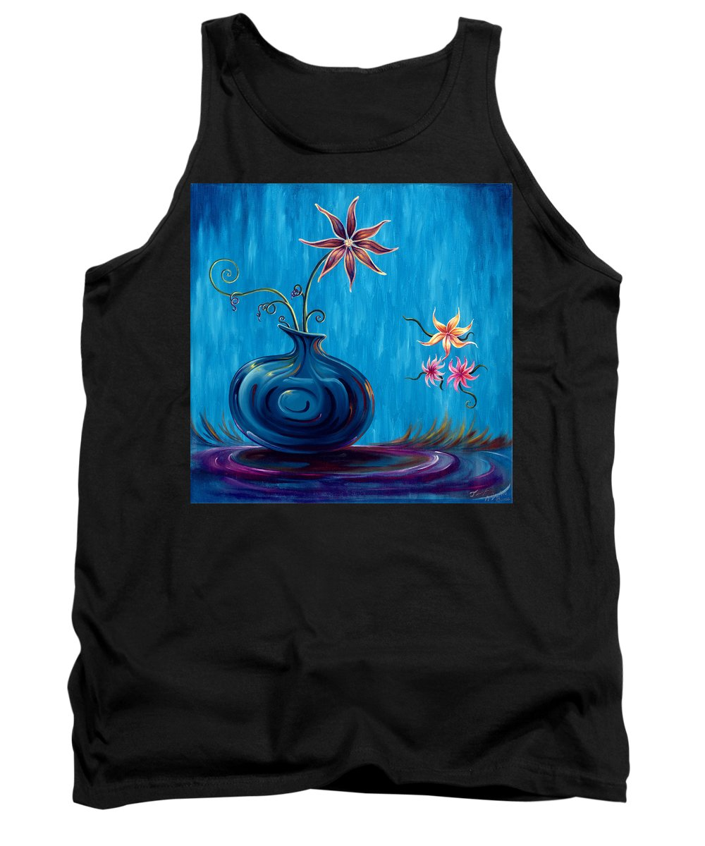 Fantasy Floral Scape Tank Top featuring the painting Aloha Rain by Jennifer McDuffie
