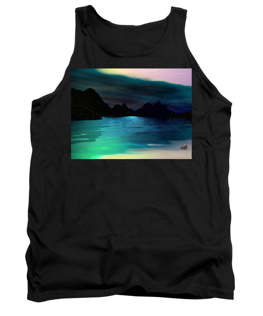 Seascape Tank Top featuring the digital art Alone On The Beach by David Lane