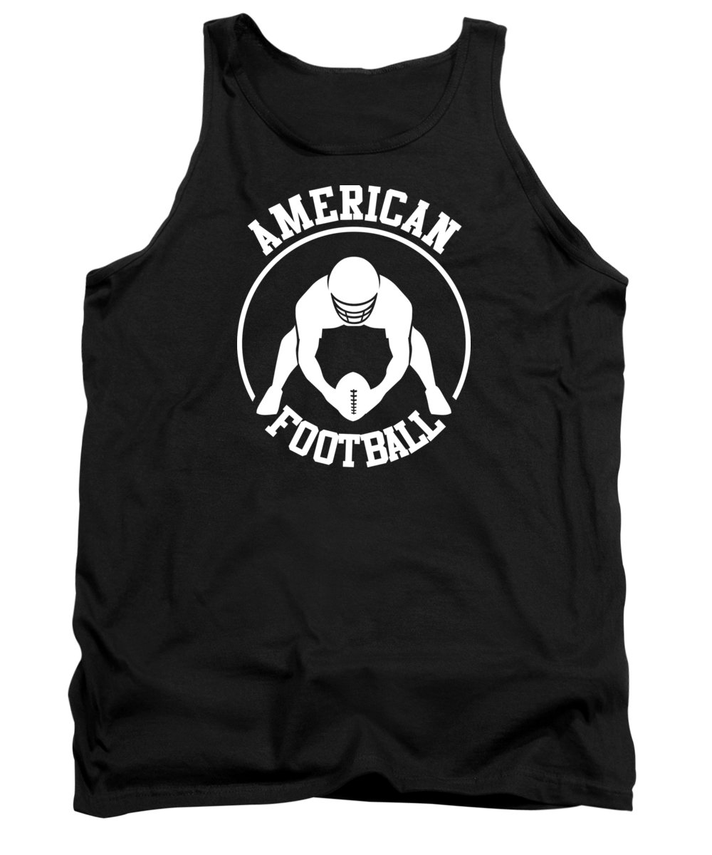 American Football Player Tank Top featuring the drawing American Football Player With Ball And Helmet by Daniel Ghioldi