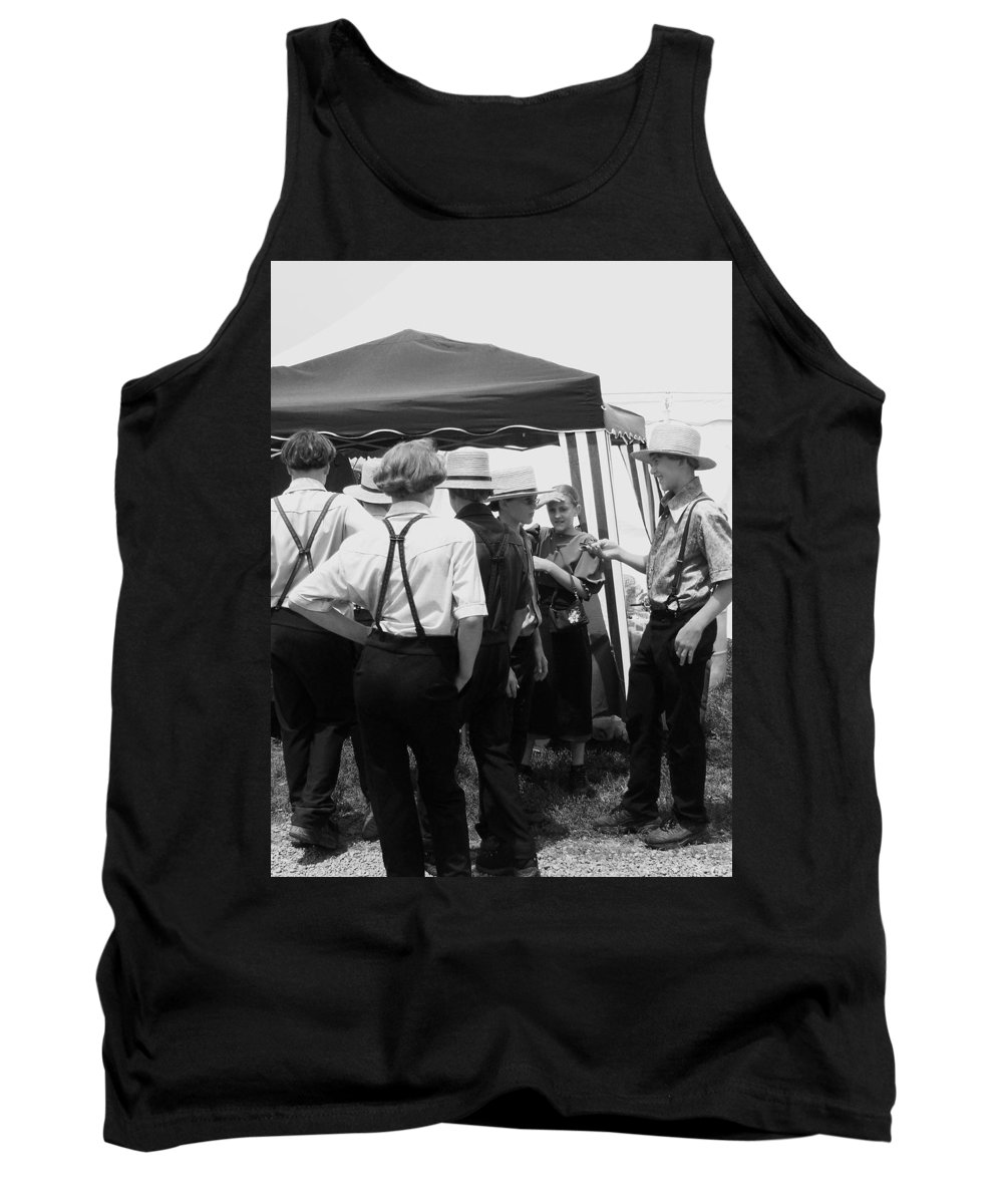 Amish Tank Top featuring the painting Amish Auction Day by Eric Schiabor