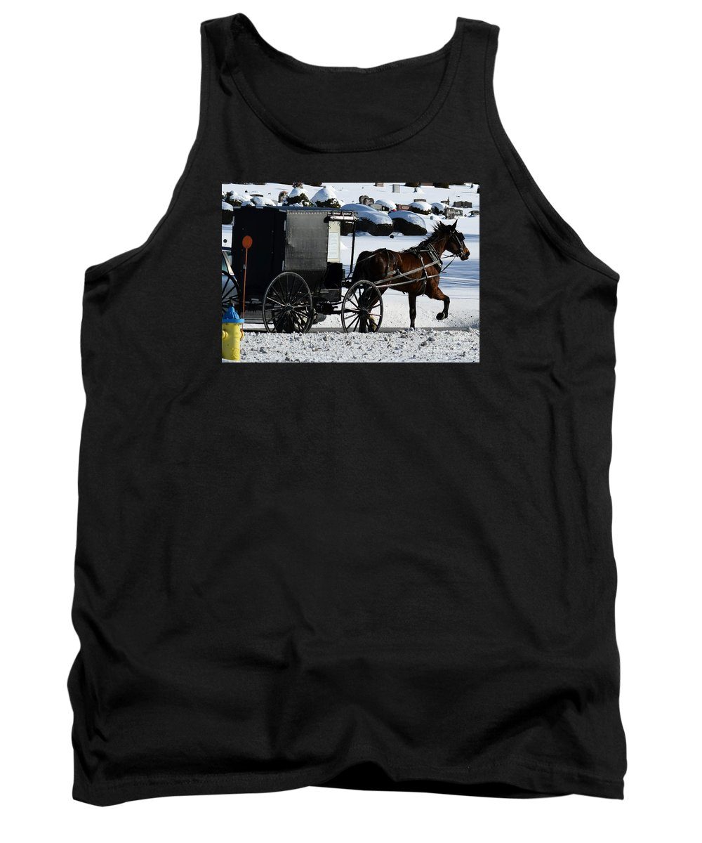 Amish Tank Top featuring the photograph Amish Crossing by William Tasker