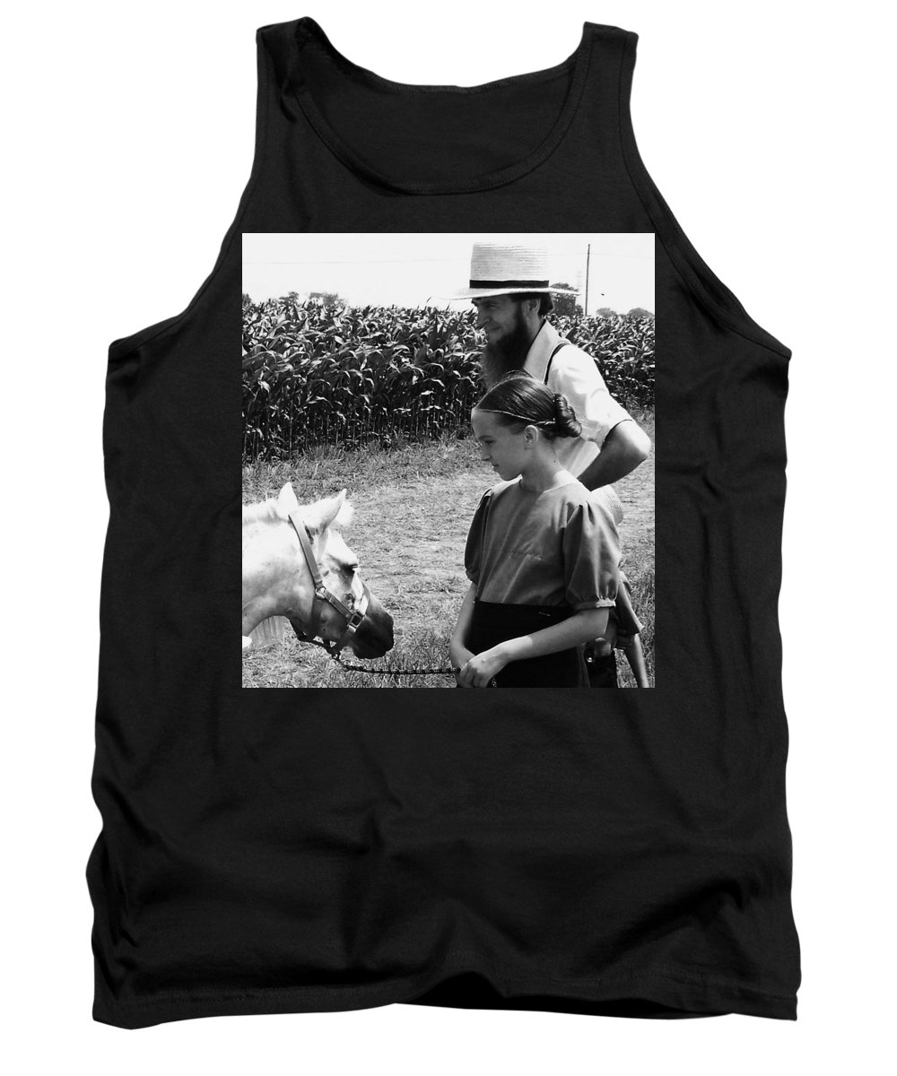 Amish Tank Top featuring the photograph Amish Girl And Pony by Eric Schiabor