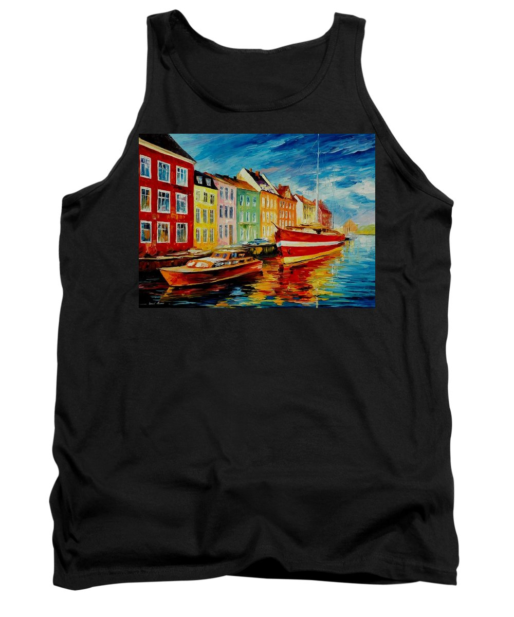 Afremov Tank Top featuring the painting Amsterdam - City Dock by Leonid Afremov