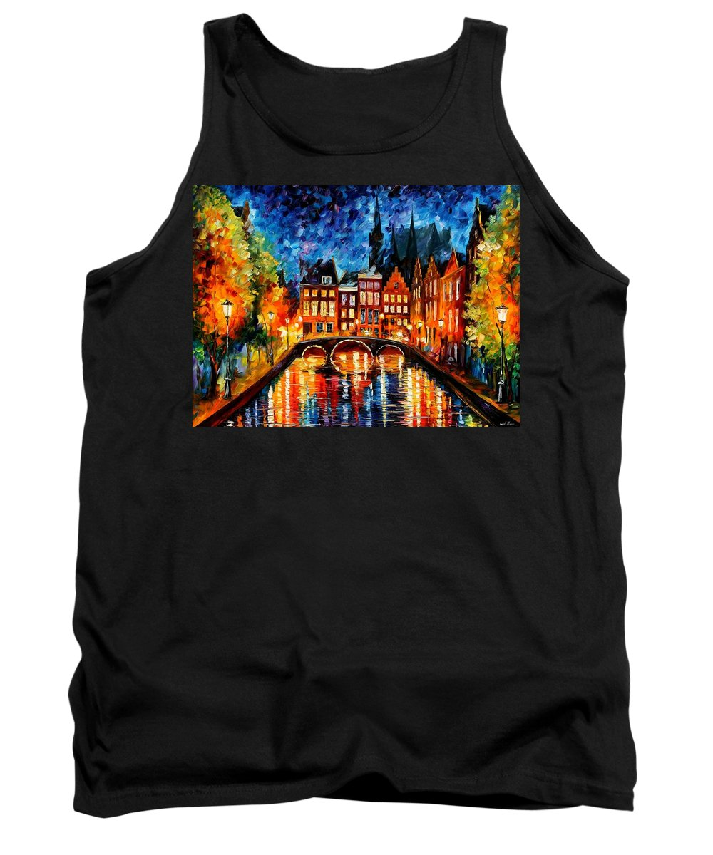Afremov Tank Top featuring the painting Amsterdam Canal by Leonid Afremov