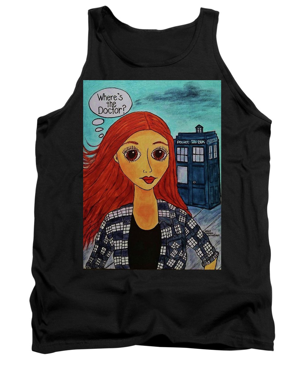 Tank Top featuring the painting Amy Pond Where's The Doctor by Janice Heinzelman