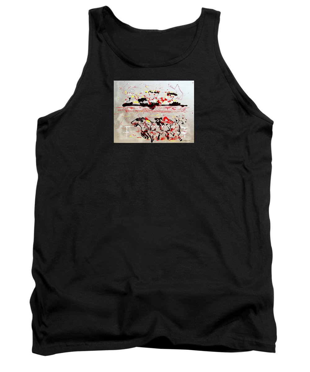 Abstract Tank Top featuring the mixed media And Down The Stretch They Come by J R Seymour