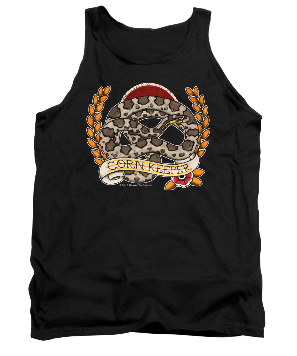 Snake Tank Top featuring the drawing Anery Corn Keeper by Donovan Winterberg