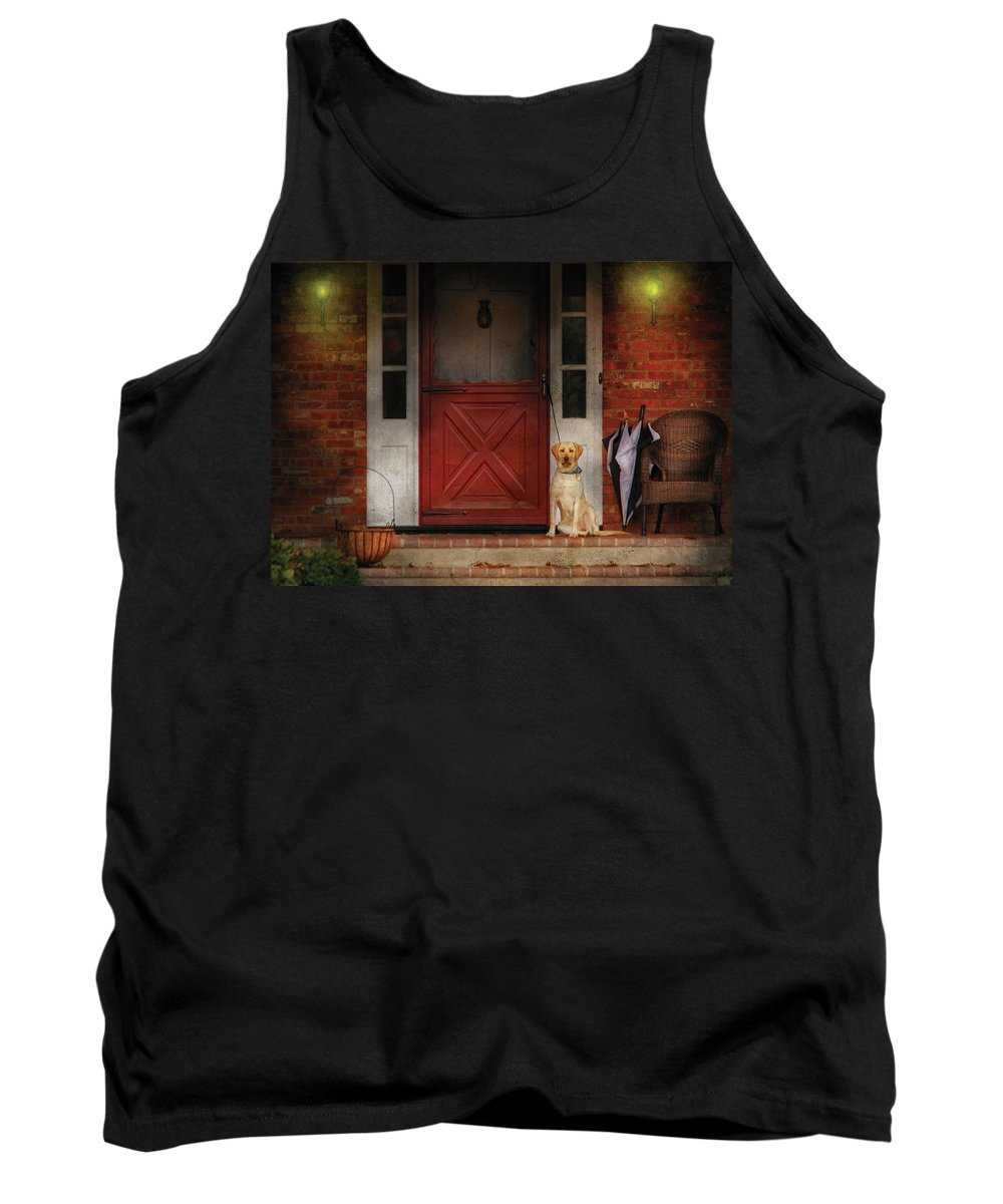 Savad Tank Top featuring the photograph Animal - Dog - Waiting For My Master by Mike Savad