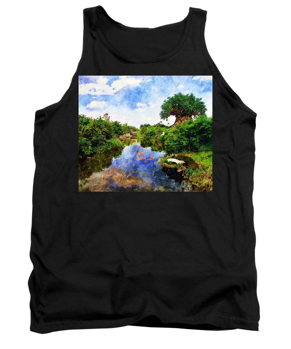 Landscape Tank Top featuring the digital art Animal Kingdom Tranquility by Sandy MacGowan