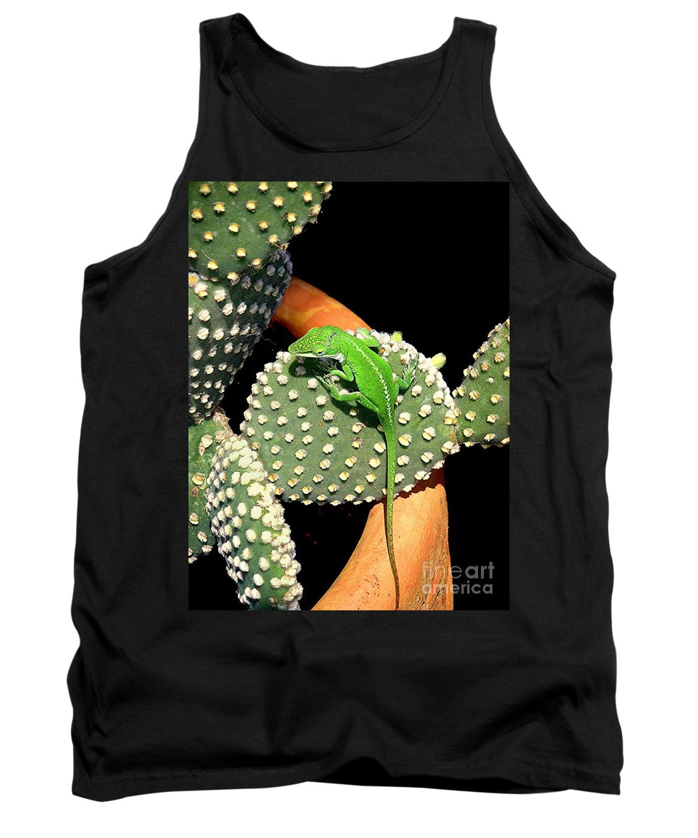 Nature Tank Top featuring the photograph Anole Hanging Out With Cactus by Lucyna A M Green