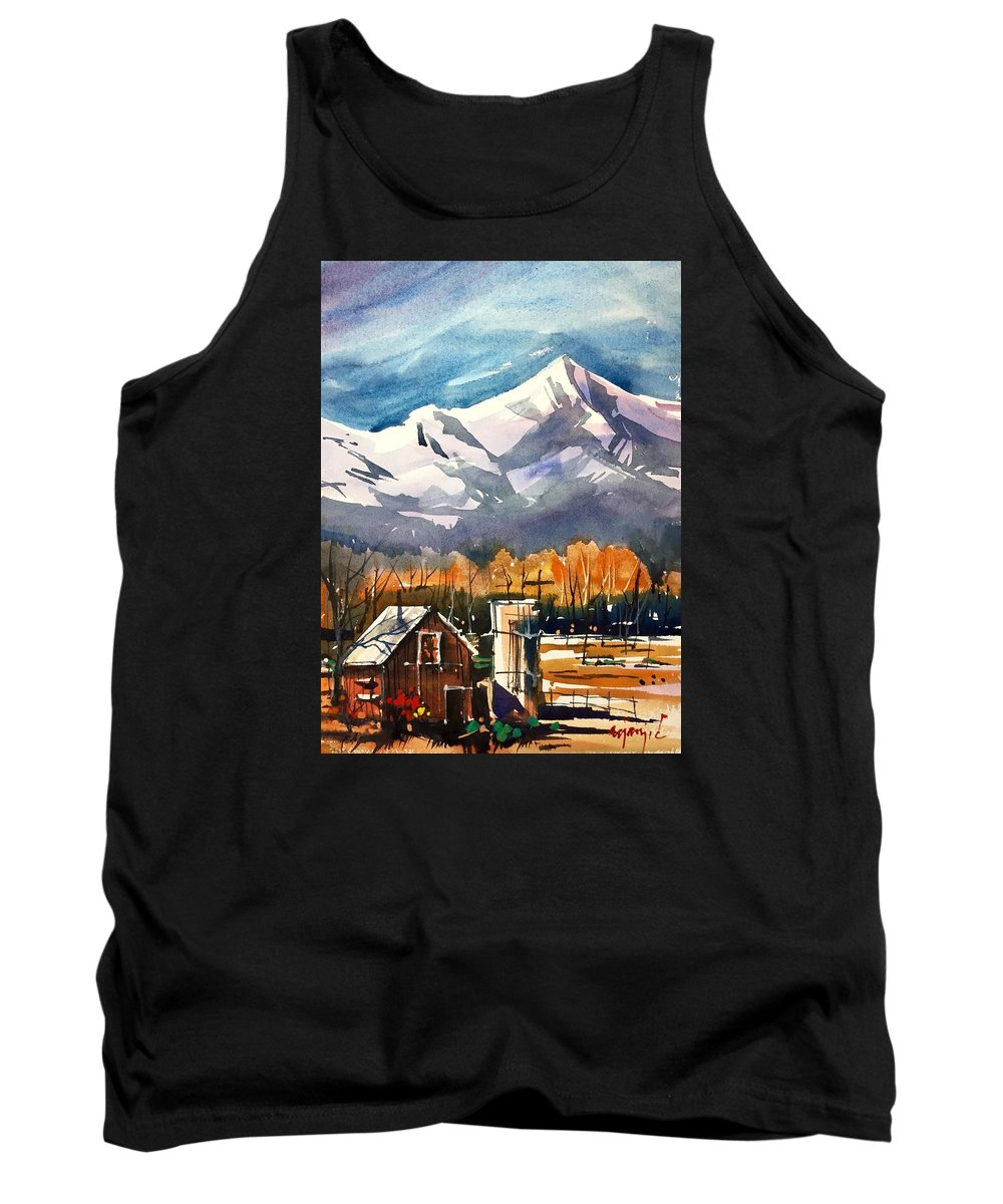 Barn Tank Top featuring the painting Another Colorado Barn by Ugljesa Janjic