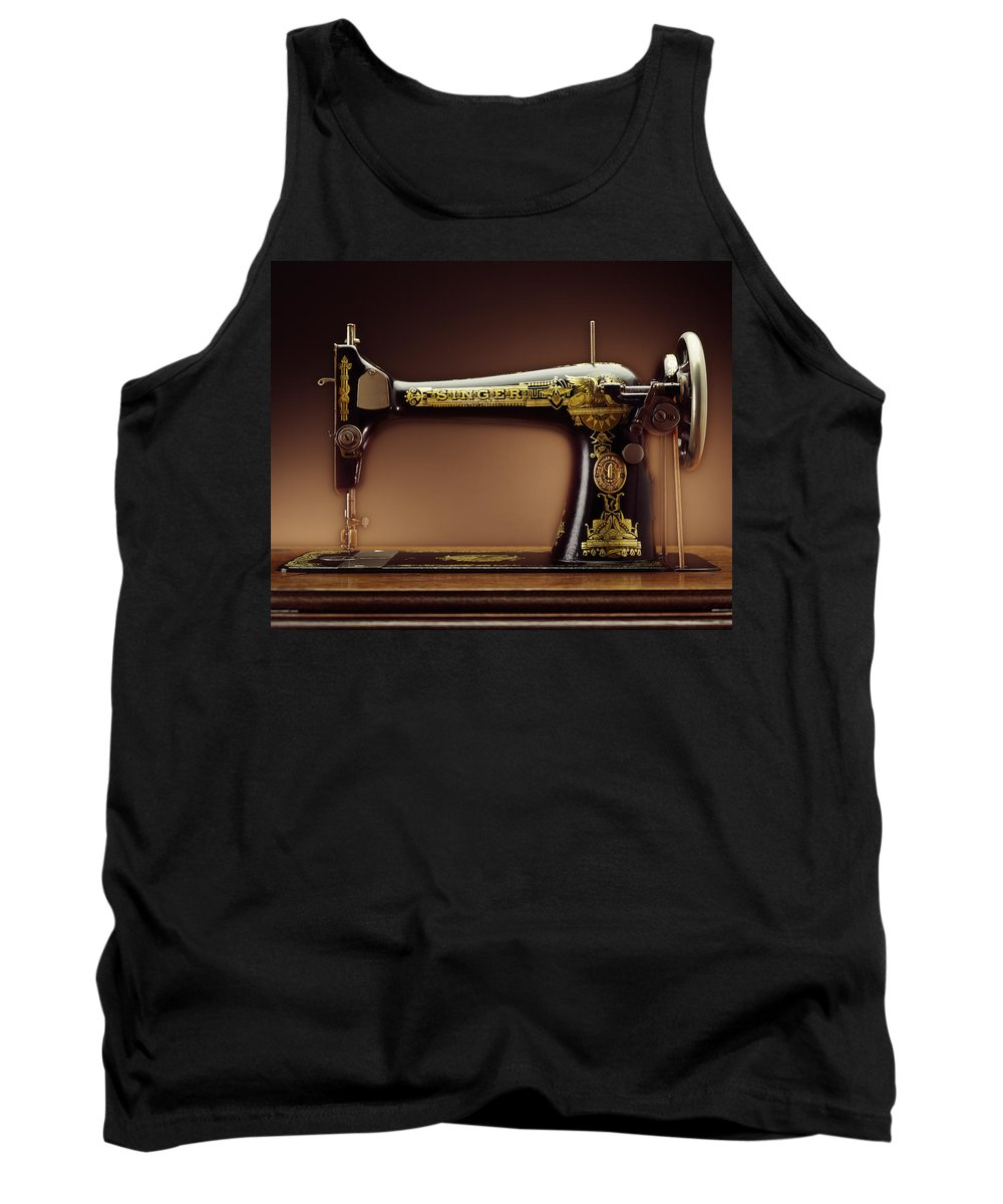 Singer Tank Top featuring the photograph Antique Singer Sewing Machine by Kelley King