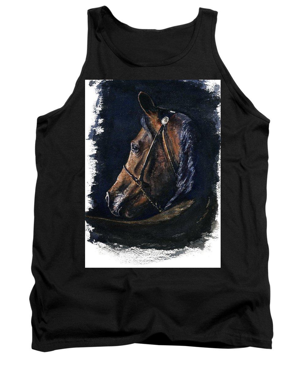Horse Tank Top featuring the painting Arabian by John D Benson