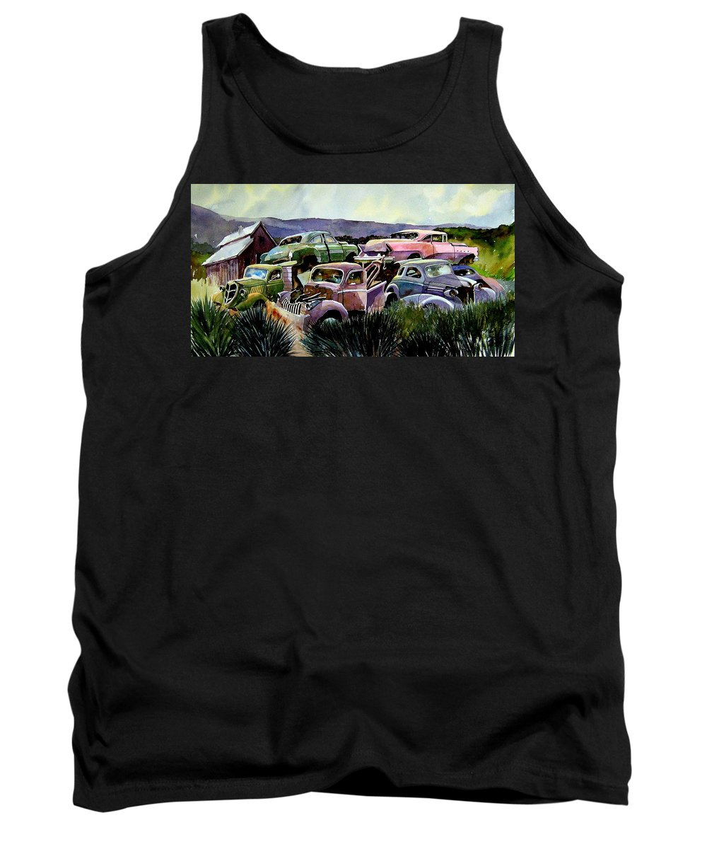 Cars Tank Top featuring the painting Art In The Orchard by Ron Morrison