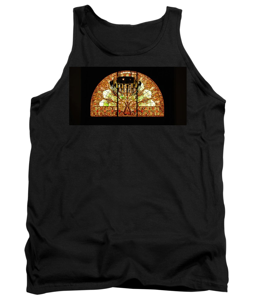 Union Station In Nashville Tank Top featuring the photograph Artful Stained Glass Window Union Station Hotel Nashville by Susanne Van Hulst