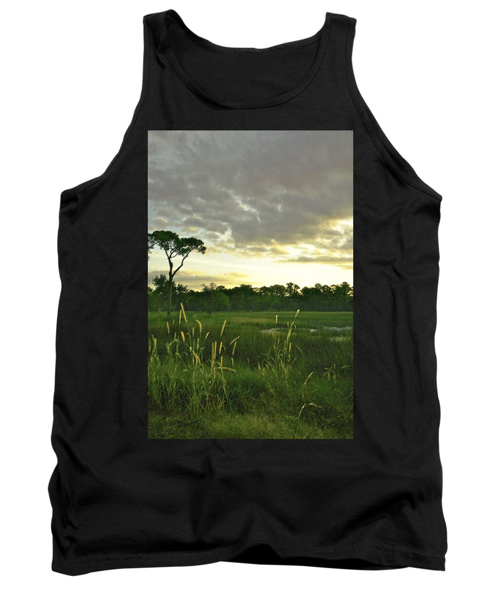 Sunrise Tank Top featuring the photograph Artistic Lush Marsh by Phill Doherty