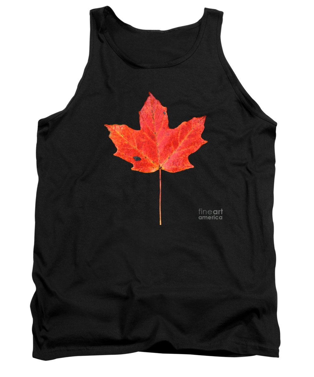 Black Shale Tank Top featuring the photograph Red Maple Leaf On Black Shale by John Harmon