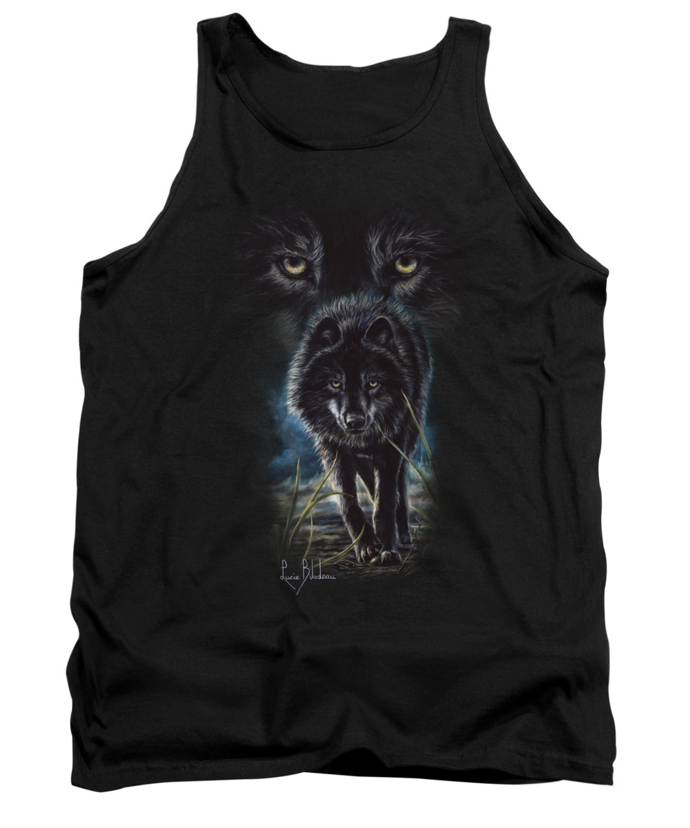 Wolf Tank Top featuring the painting Black Wolf Hunting by Lucie Bilodeau