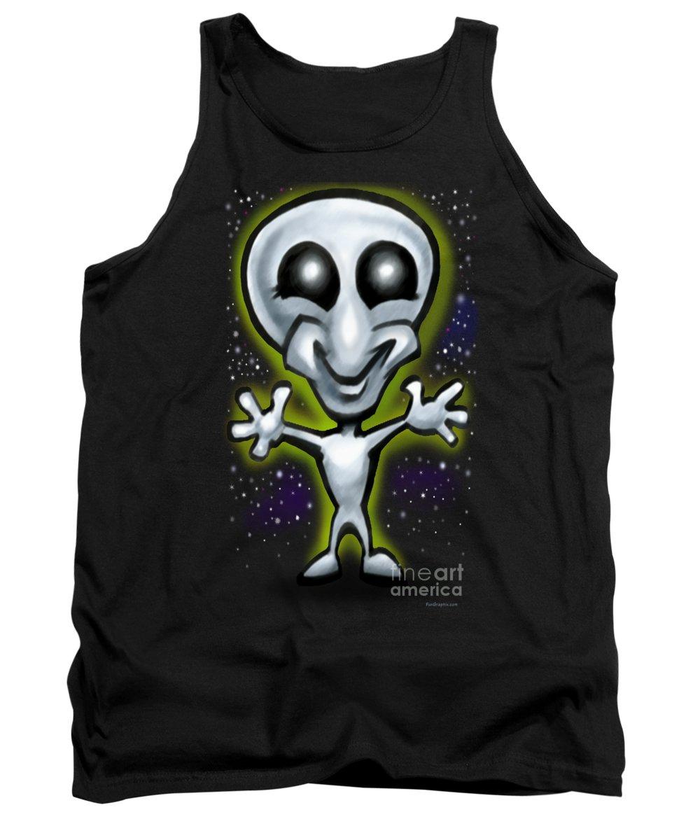 Alien Tank Top featuring the digital art Alien by Kevin Middleton