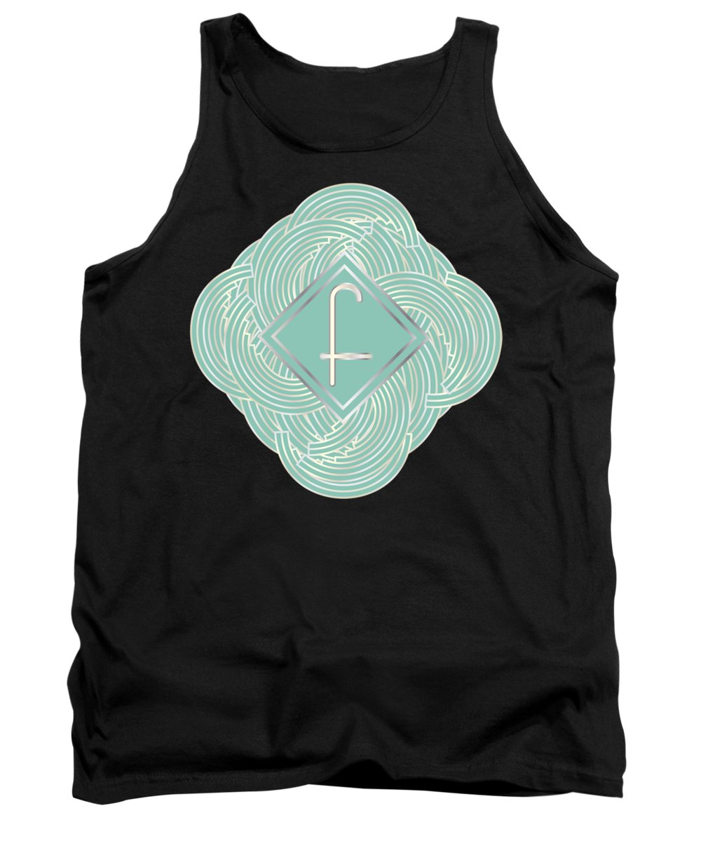 Monogrammed Tank Top featuring the digital art 1920s Blue Deco Jazz Swing Monogram ...letter F by Cecely Bloom