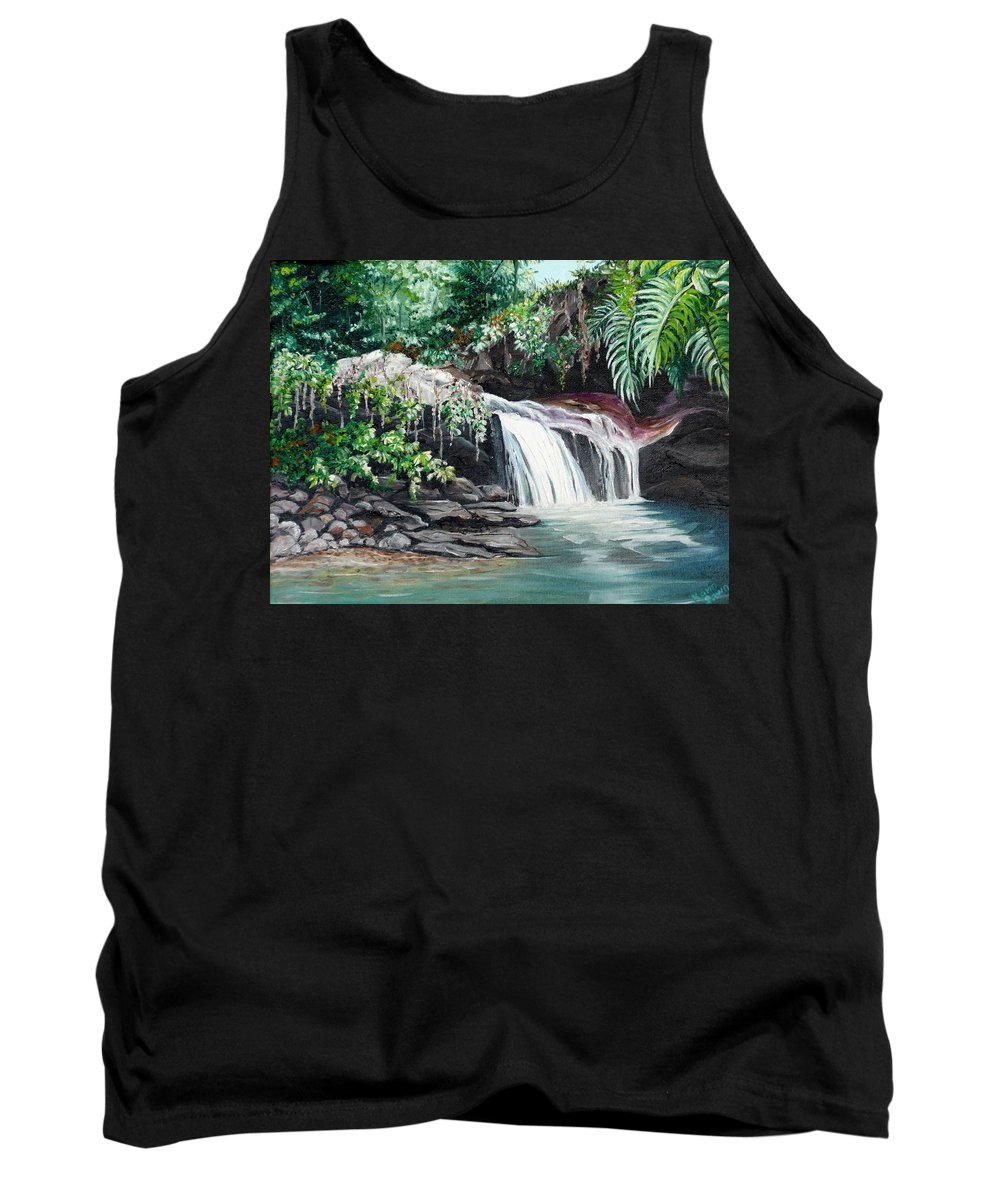 Waterfall Painting Tank Top featuring the painting Asa Wright Falls   Sold by Karin Dawn Kelshall- Best