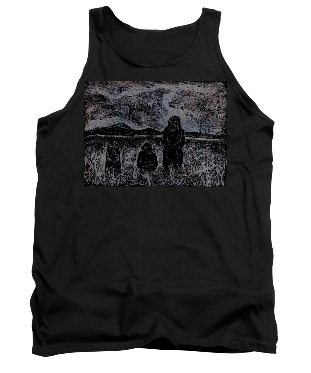 Graphica Tank Top featuring the drawing Asia.gone With The Wind by Anna Duyunova
