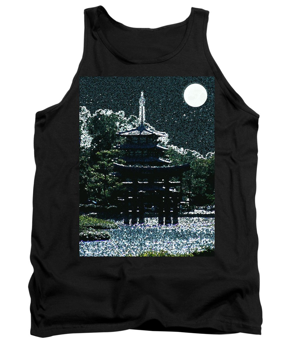 Full Moon Tank Top featuring the mixed media Asian Moon by Shirley Heyn
