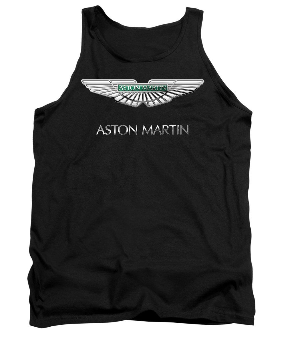 'wheels Of Fortune� Collection By Serge Averbukh Tank Top featuring the photograph Aston Martin 3 D Badge on Black by Serge Averbukh
