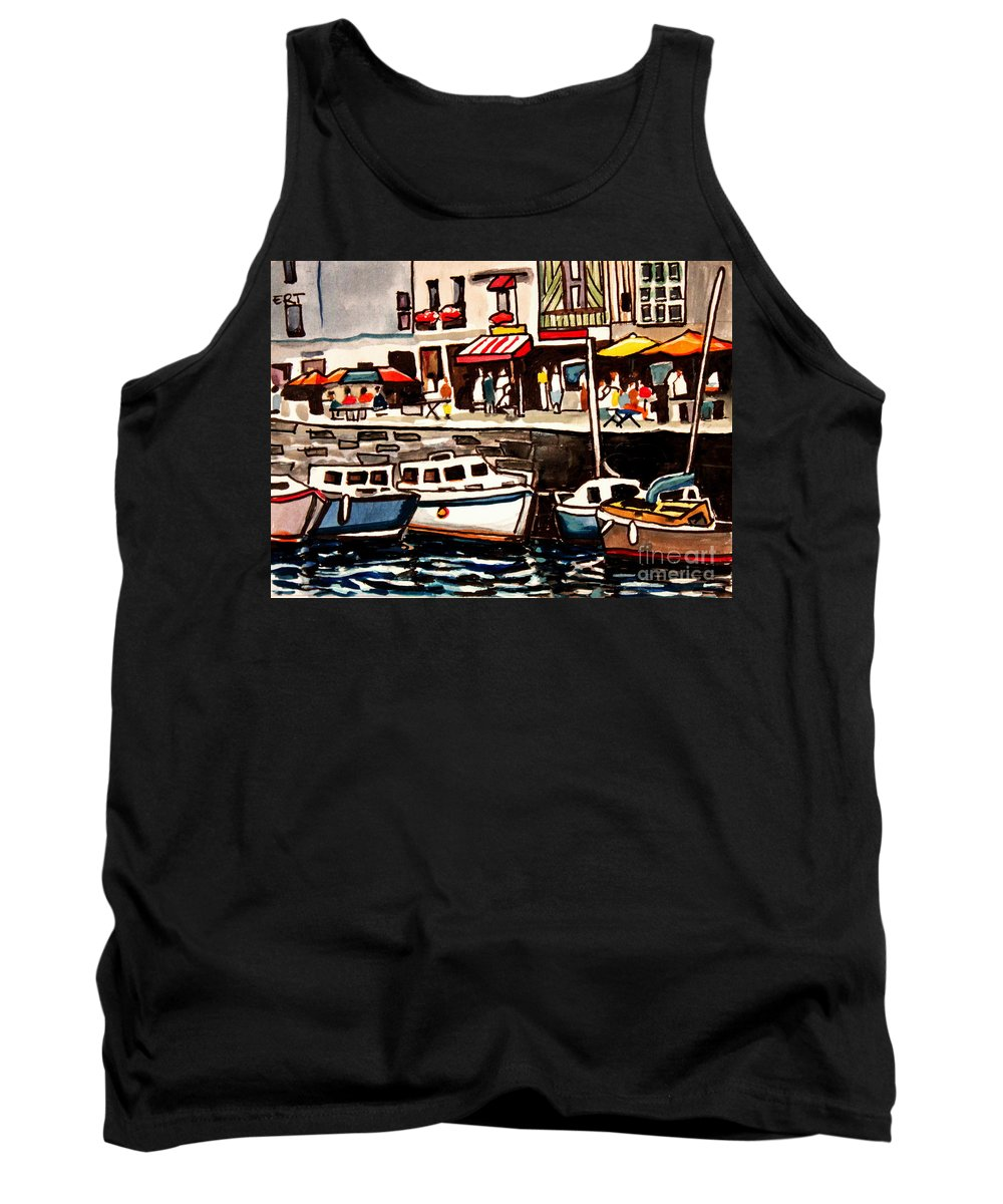 Cafe Tank Top featuring the painting At The Cafe by Elizabeth Robinette Tyndall