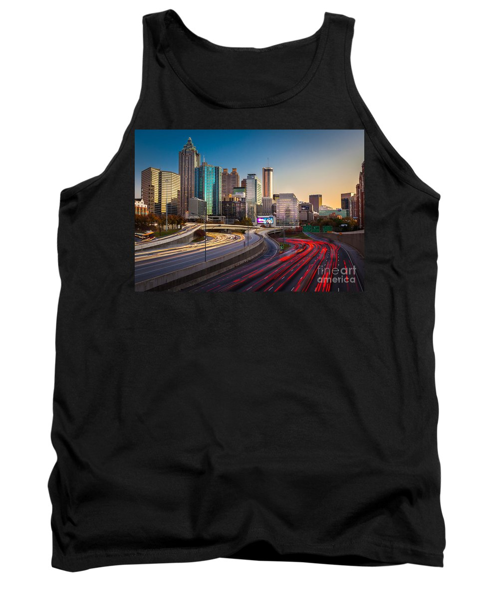 America Tank Top featuring the photograph Atlanta Downtown Lights by Inge Johnsson