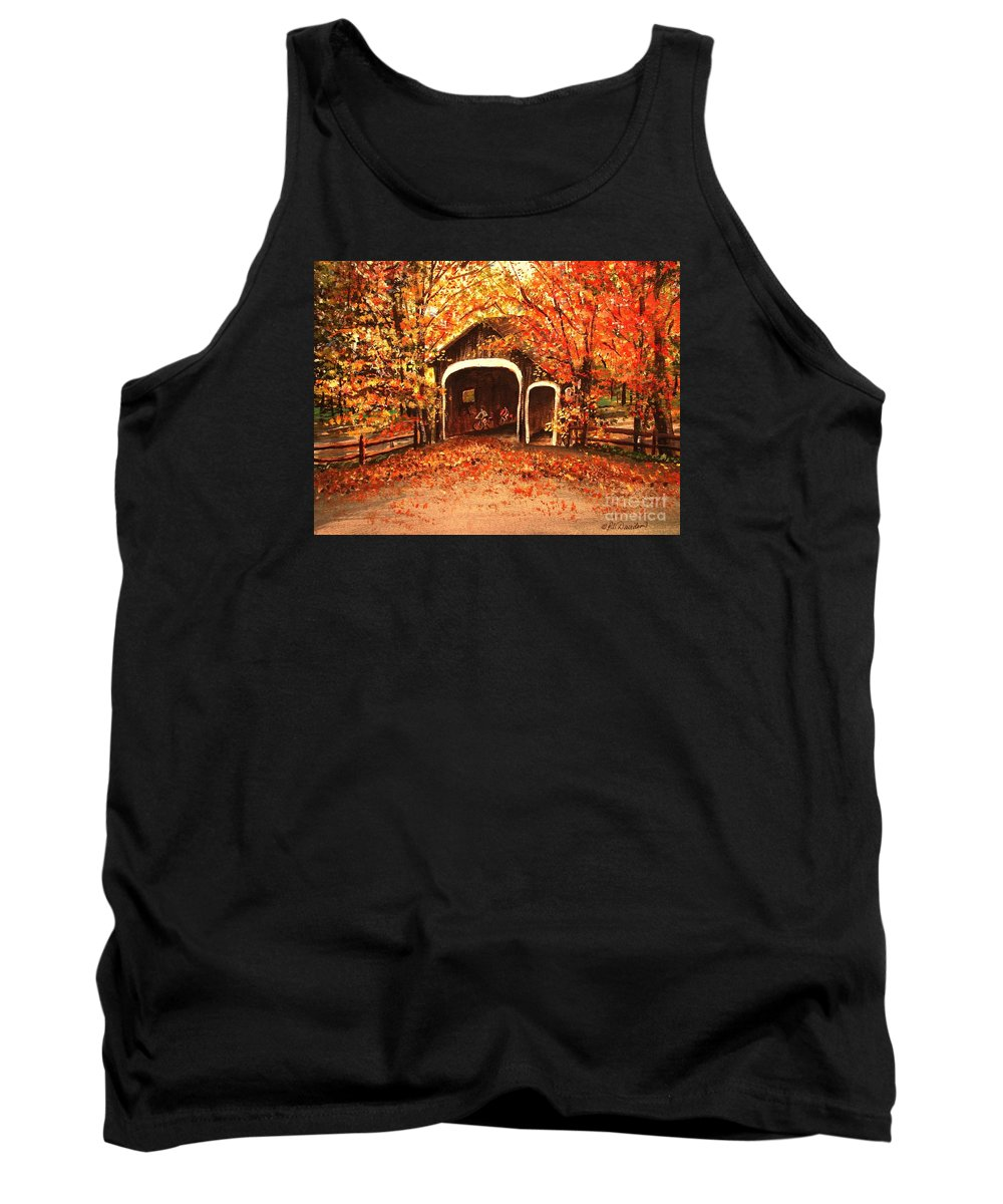 Autumn Tank Top featuring the painting Autumn Bike Ride by Patricia L Davidson