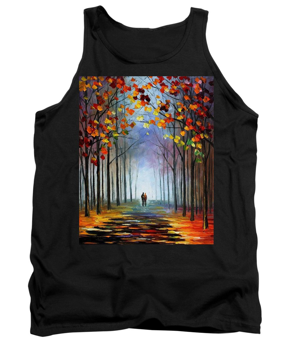 Afremov Tank Top featuring the painting Autumn Fog by Leonid Afremov