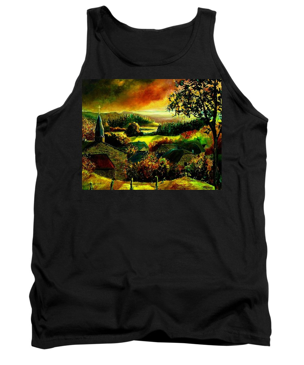Landscape Tank Top featuring the painting Autumn In Our Village Ardennes by Pol Ledent