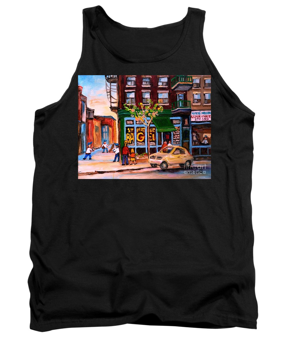St.viateur Bagel Tank Top featuring the painting Autumn In The City by Carole Spandau