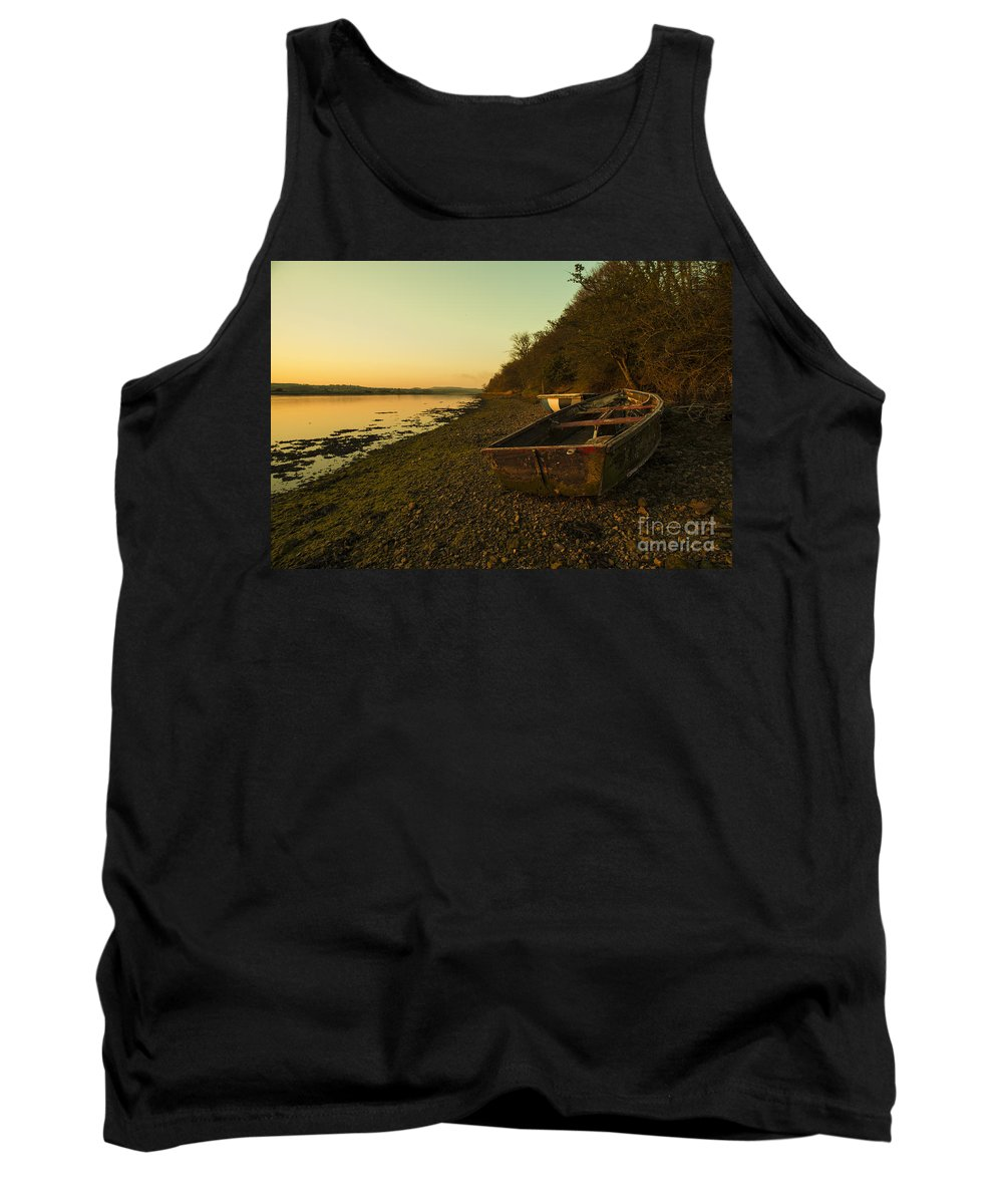 River Tank Top featuring the photograph Axe Estuary Boat by Rob Hawkins