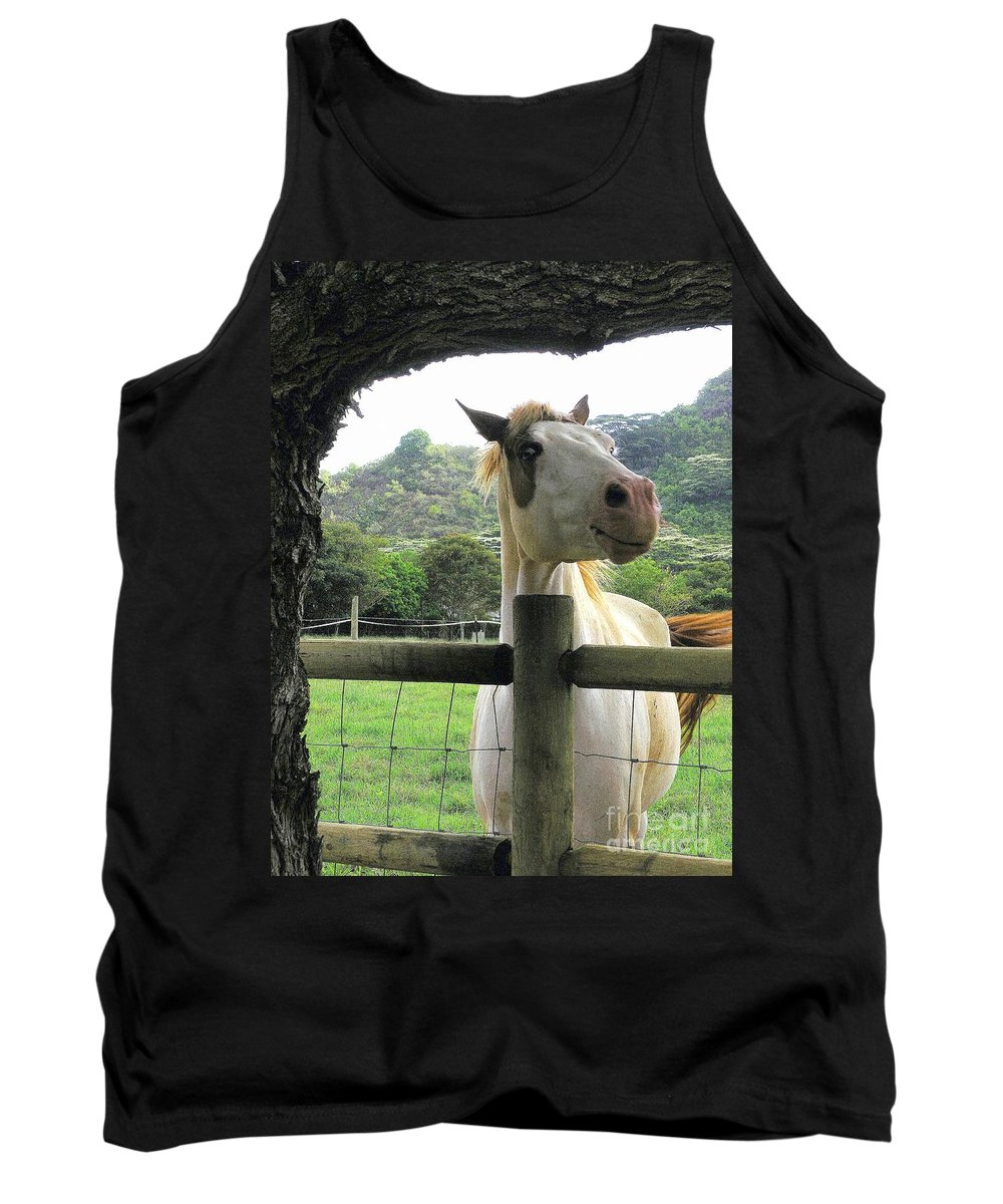 Animals Tank Top featuring the photograph Back Fence Gossip by Mary Deal