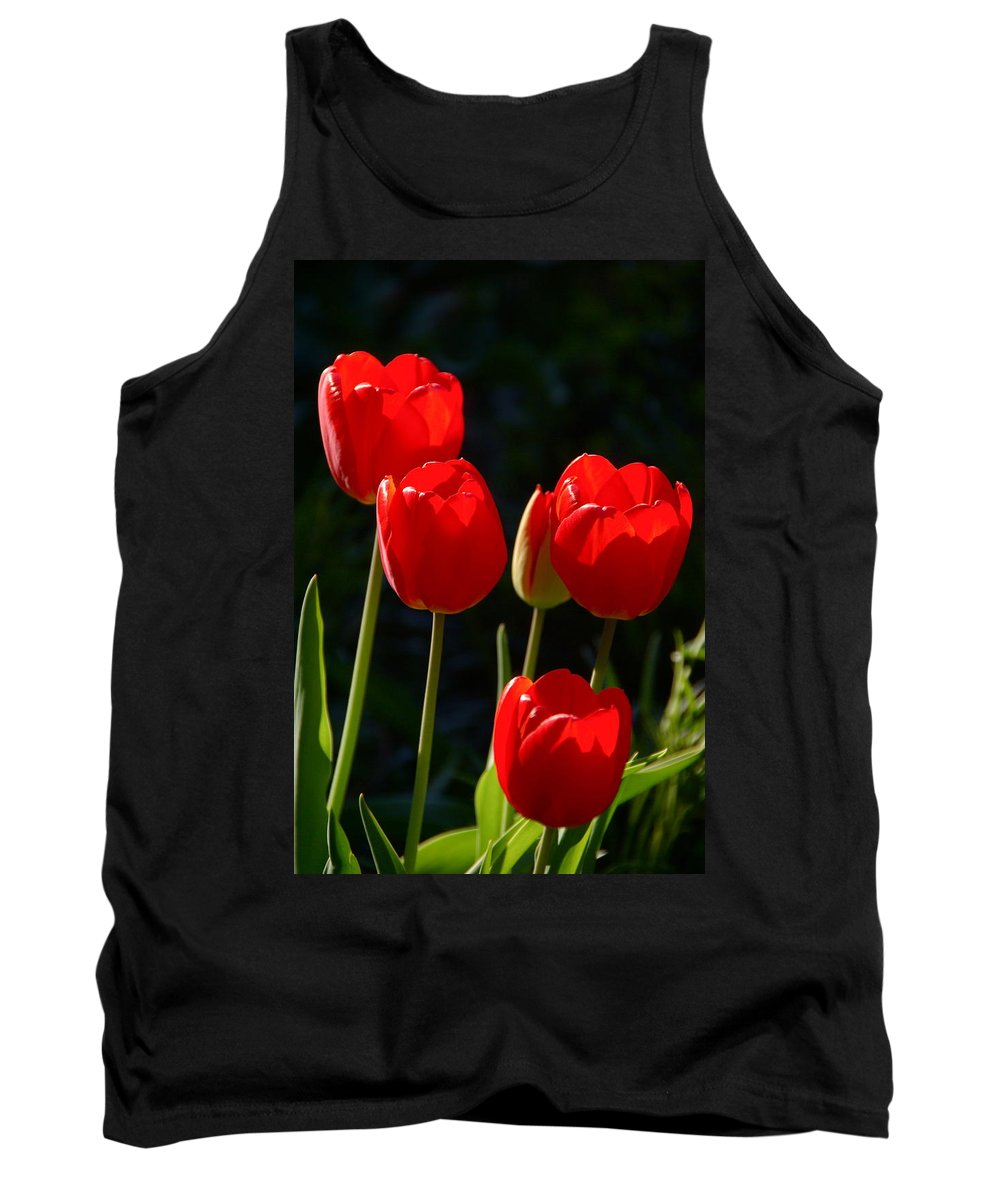Tulip Tank Top featuring the photograph Backlit Red Tulips by Byron Varvarigos
