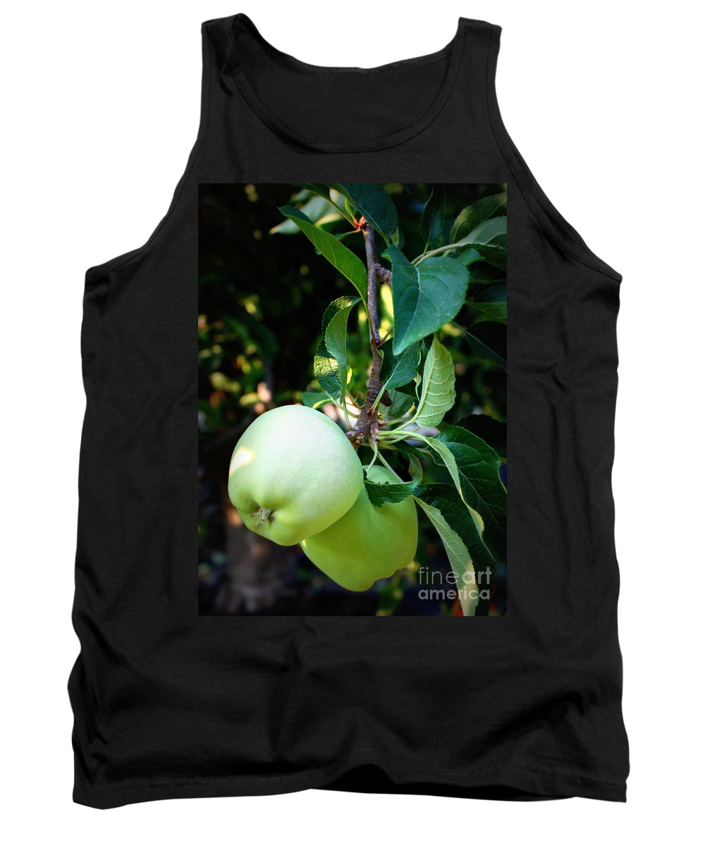 Food Tank Top featuring the photograph Backyard Garden Series - 2 Apples by Carol Groenen