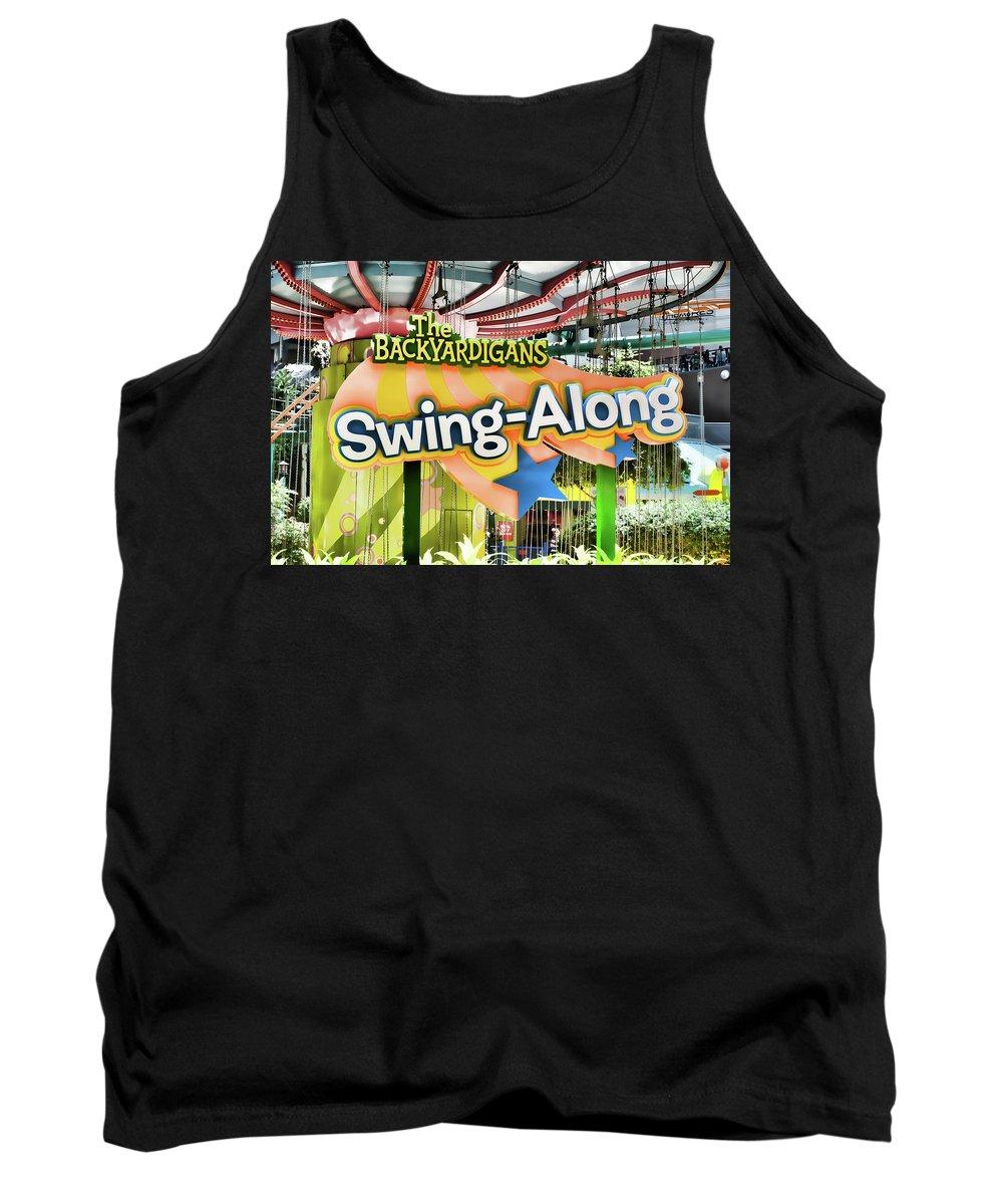 Backyardigans Swing-a-long Tank Top featuring the painting Backyardigans Swing-a-long by Jeelan Clark