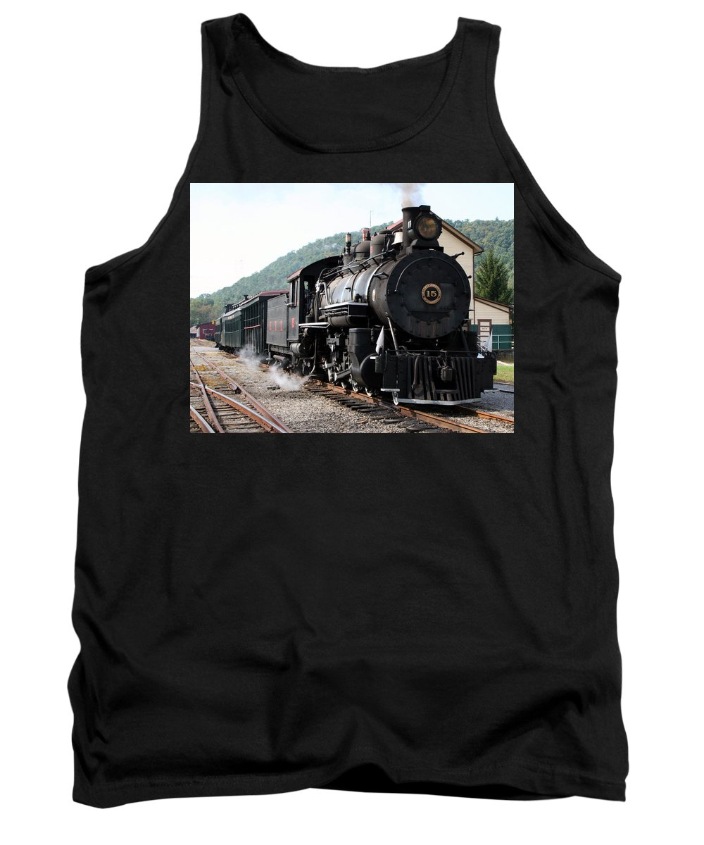 Locomotive Tank Top featuring the photograph Baldwin Locomotive Number Fifteen by Rebecca Smith