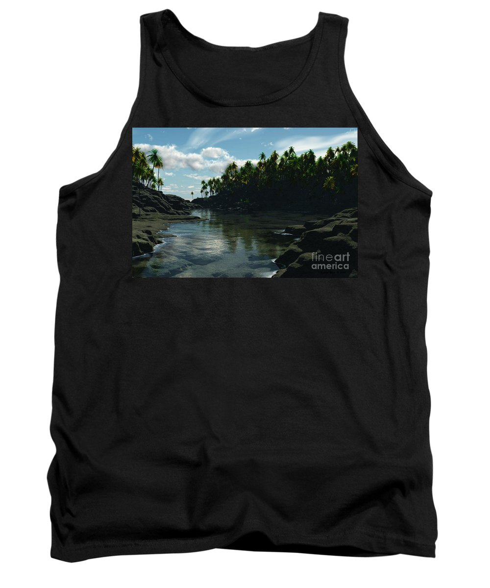 Rivers Tank Top featuring the digital art Banana River by Richard Rizzo