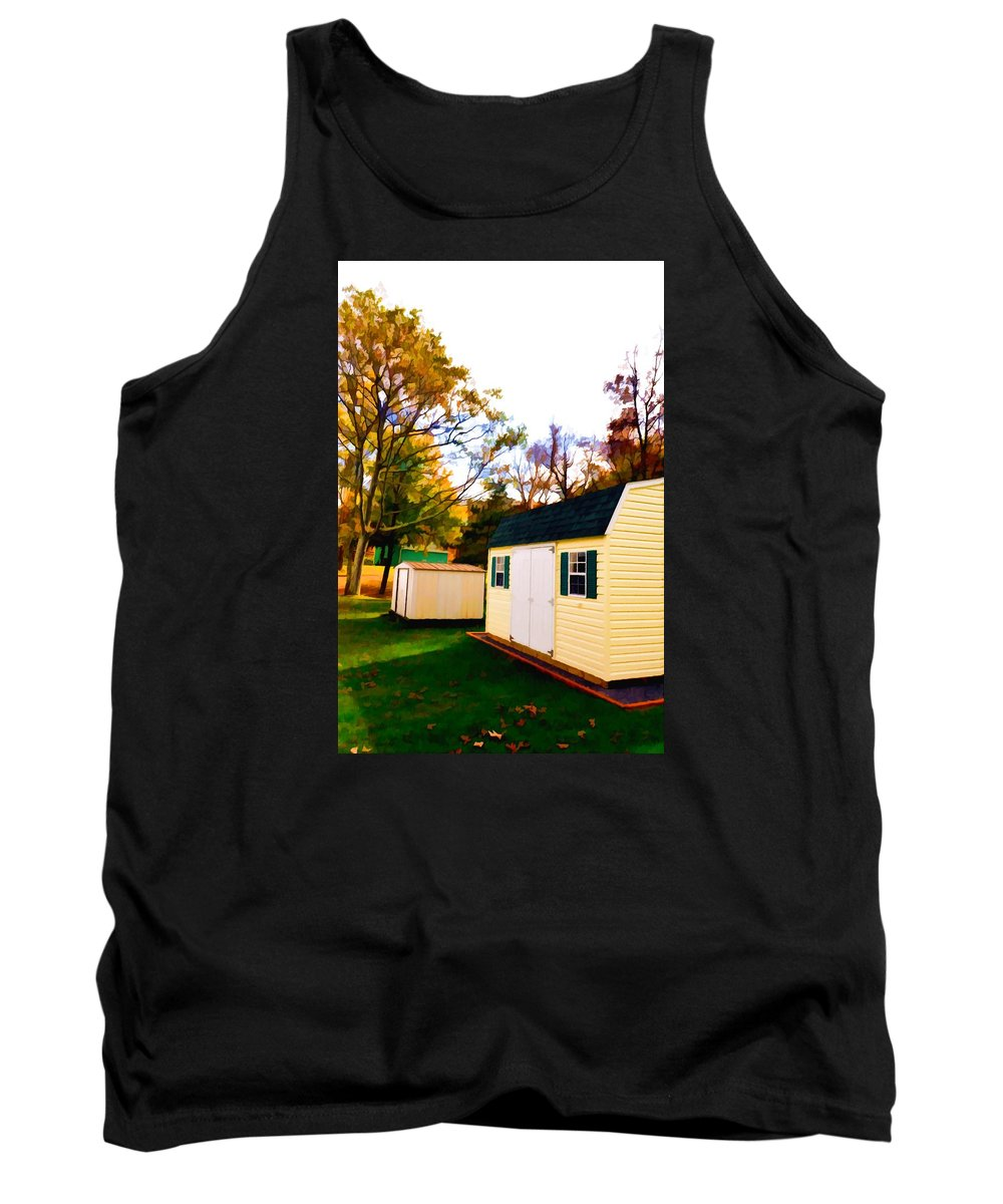 Barns In Autumn Tank Top featuring the painting Barns In Autumn by Jeelan Clark