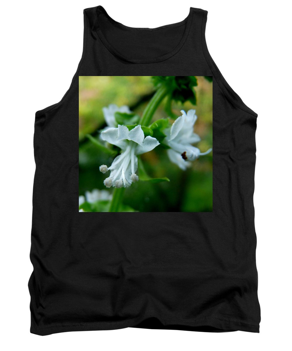 Basil Tank Top featuring the photograph Basil Bloom by Valerie Ornstein
