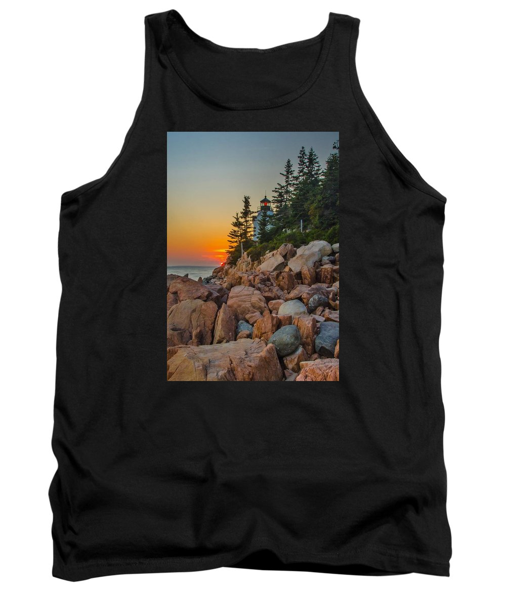 Bass Harbor Tank Top featuring the photograph Bass Harbor Lighthouse Maine by Ina Kratzsch
