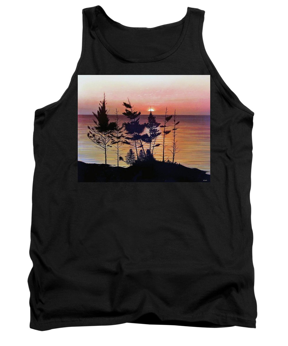 Bay Of Fundy Tank Top featuring the painting Bay Of Fundy Sunset by Kenneth M Kirsch